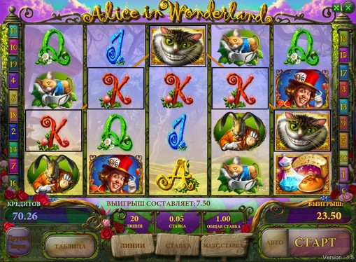 Premi di slot Alice in Wonderland
