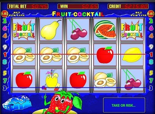 I rulli della macchina da gioco Fruit Cocktail