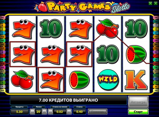 I rulli di slot Party Games Slotto