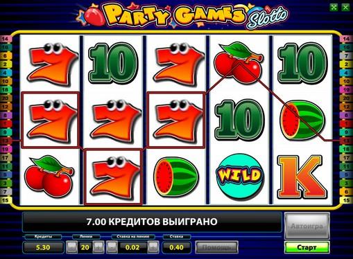 I rulli di slot Party Games Slotto