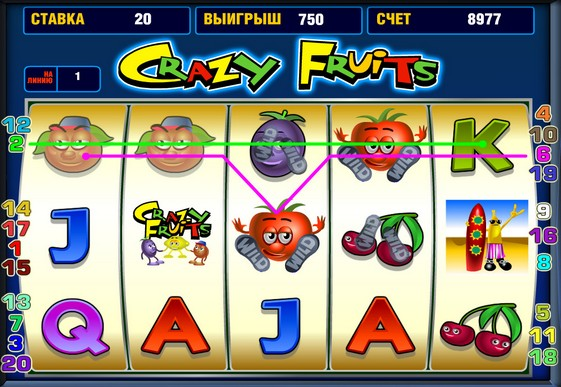I rulli di slot Crazy Fruits