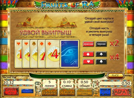 Il raddoppio del turno di slot Fruits of Ra